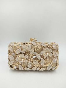 Gold Pearl Rhinestone Lily Evening Bag-Handbags & Purses - MILANBLOCKS