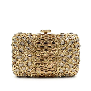 Gold Tone Luxury Rhinestone Bridal Wedding Box CLUTCH-Handbags & Purses - MILANBLOCKS