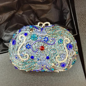 Loyal Blue Rhinestne Crystal Metal Box Clutches for Bridal Wedding-Handbags & Purses - MILANBLOCKS