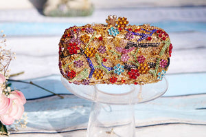 Luxury Flower Bird Crystal Metal Box Clutch-Handbags & Purses - MILANBLOCKS