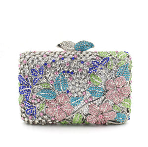 Luxury Flower Leave Rhinestone Prom Metal Clutch purse-Handbags & Purses - MILANBLOCKS