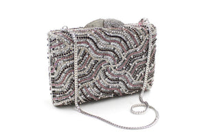 Luxury Paisley Spider Web Bling Rhinestone Hard Case Clutch Purse For Wedding Prom-Handbags & Purses - MILANBLOCKS