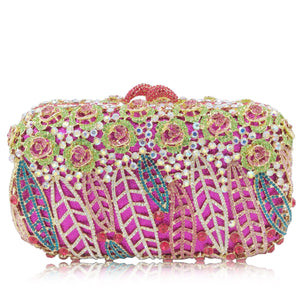 Multi-Colored Floral Dream Catcher Rhinestone Clutch-Handbags & Purses - MILANBLOCKS