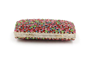New Kisslock Flower Colorful Rhinestone  Minaudiere Box Clutch-Handbags & Purses - MILANBLOCKS