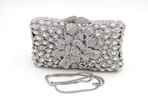 New Silver Rhinestone Hardware Box Clutch For Bridal Wedding Purses-Handbags & Purses - MILANBLOCKS