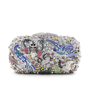 News Bird Owl Rhinestone Metal Minaudiere Box Clutches-Handbags & Purses - MILANBLOCKS