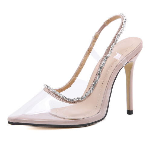 Transparent crystal pointed toe heels