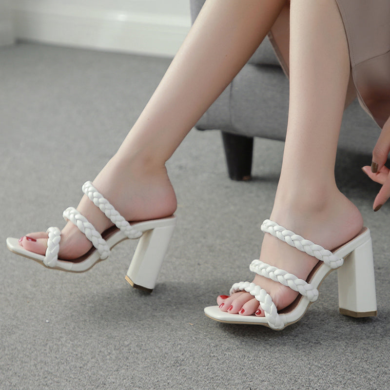 Knit Braided White Thick Heels Sandals