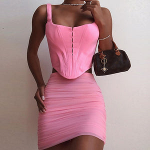 Hot Pink Corset Cottage Fashion