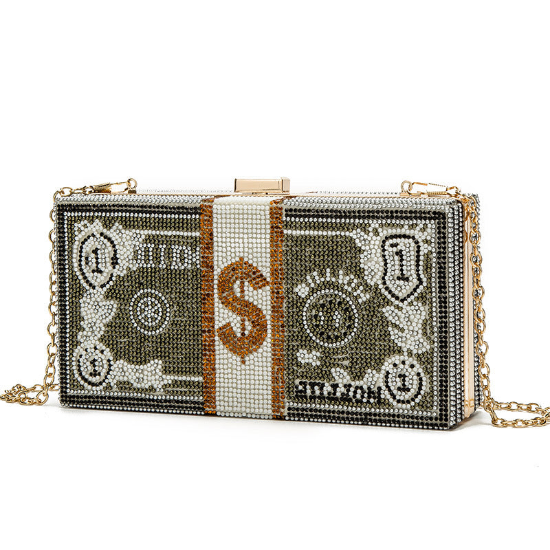 US dollar bag 2021 new cross border e-commerce US dollar pattern water drill bag with one shoulder chain Dinner Bag
