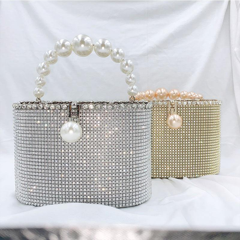 2021 new fashion net red same style diamond inlaid bag women's slanting large capacity dinner pearl bag - onlinefashionresource