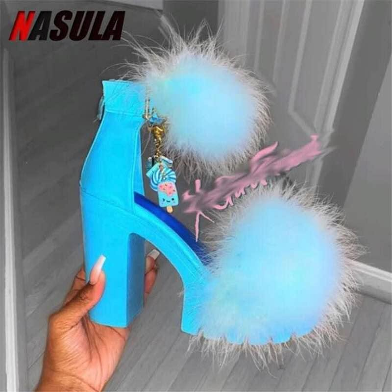 Feather Thickness Sandal shoes Barbe heels Shoes - onlinefashionresource