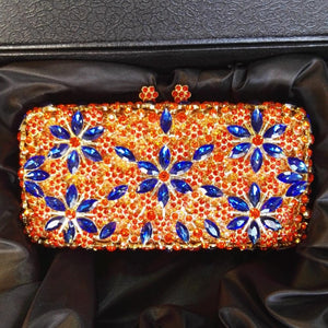 Orange Luxury  Rhinestone Crystal Minaudiere Bridal Clutch-Handbags & Purses - MILANBLOCKS