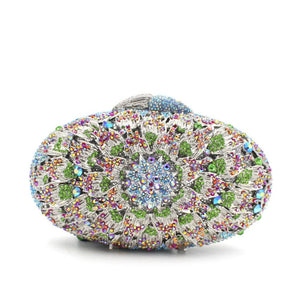 Oval Flower Rhinestone Minaudiere Box Clutch-Handbags & Purses - MILANBLOCKS