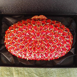 Oval Rhinestone Minaudiere Wedding Clutch-Handbags & Purses - MILANBLOCKS