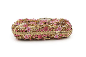 Plum flower Rhinestone Minaudiere Metal Clutch for women-Handbags & Purses - MILANBLOCKS