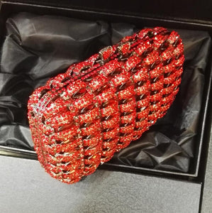 Red Rhinestone Metal Box Bridal Evening Clutches-Handbags & Purses - MILANBLOCKS