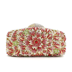 Rhinestone Bling Sakura Floral Clutch Bags For Womens Evening Bags-Handbags & Purses - MILANBLOCKS