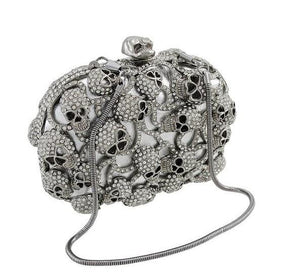 Luxury Rhinestone Encrusted Skull Evening Bag Clutch Purse-Handbags & Purses - MILANBLOCKS