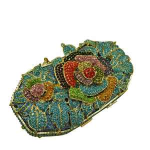 Full Crystal Flower Metal Clutch Hollow Rhinestone Bag Bridal Purse-Handbags & Purses - MILANBLOCKS