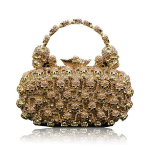 Skull Purses And Handbags For Women Bling Crystal Clutch Evening Bag-Handbags & Purses - MILANBLOCKS