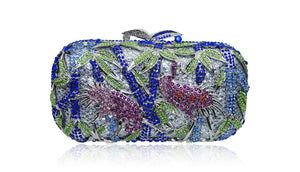 Silver Blue Birdy Crystal Wedding Clutch-Handbags & Purses - MILANBLOCKS