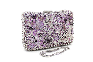 Women Butterfly Rhinestone Minaudiere Purses Clutches-Handbags & Purses - MILANBLOCKS