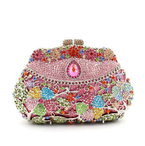 Women Cheap Rhinestone Minaudiere Metal Box Clutches-Handbags & Purses - MILANBLOCKS