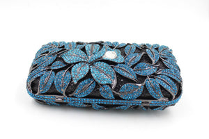Women Royal Blue Bling Rhinestone Crystal Clutch For Bridal-Handbags & Purses - MILANBLOCKS