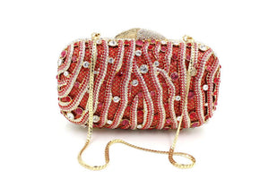 Women Zebra Rhinestone Minaudiere Wedding Box Clutch-Handbags & Purses - MILANBLOCKS