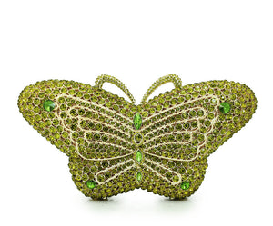 green Full Crystal Evening Clutch Butterfly Rhinestone Evening Handbags Clutches