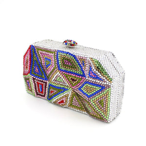 New  Rhinestone Crystal Minaudiere Pyramid Clutch-Handbags & Purses - MILANBLOCKS