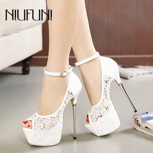 Women's Ultra High Heels Wedding Pumps 16cm Peep Toe Elegant Buckle Nightclub Party Shoes Ladies Lace Platform Metal Stiletto