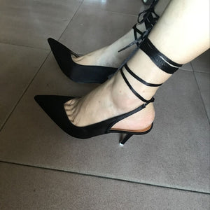 Spring 2021 new style pointed toe high heel strap women's evening dress party shoes