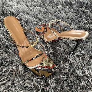 2021 Summer Pumps Sexy snake print Slippers Sandals Shoes Women Thin High Heels Square Toe Sandal Lady Pump Shoes Mules