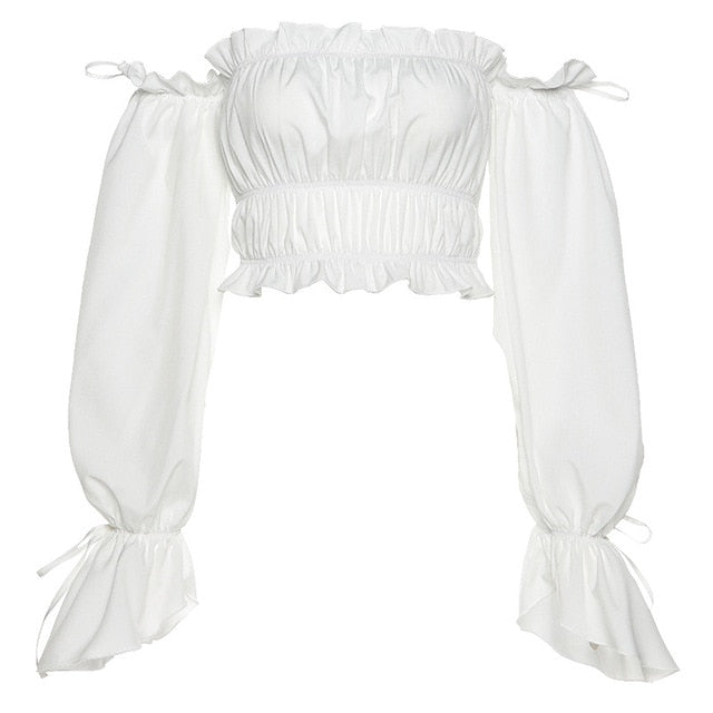 Yimunancy Off Shoulder Top Women Long Sleeve Ruffle Top