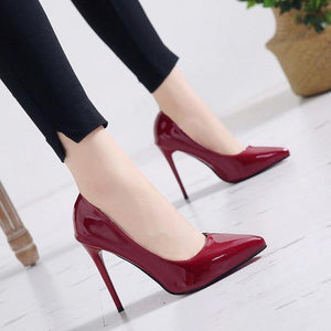 2021 Plus Size 34-44 HOT Women Shoes Pointed Toe Pumps Patent Leather Dress High Heels Boat Shoes Wedding Shoes Zapatos Mujer