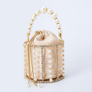 Rhinestone Evening Pearl Clutch Bag Women Luxury Handmade Diamond Beaded Bucket Purses and Handbags Bridal Wedding Party Sweet
