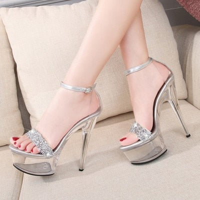 20210New Sexy Women Shoes High Heels 15cm Summer Woman Transparent Crystal Platform Sandals Plus Size Thin Heels Wedding Shoes