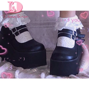 Brand New Female Lolita Cute Mary Janes Pumps Platform Wedges High Heels women's Pumps Sweet Gothic Punk Shoes Woman