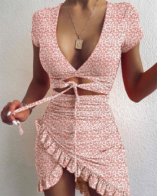 Floral Print Fashion Tie Up Wrap Mini Dress 2021 Summer Holiday Ruffles Sundress Ruched Women's Dress Short Sleeve