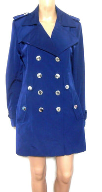 Calvin Klein dark blue trench coat, double breasted, sz. 12, exc. cnd.