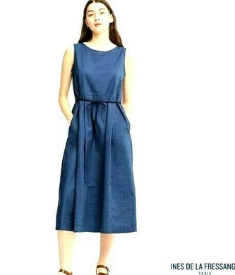 Ines De La Fressange Paris, dark blue midi dress, sz. 8/XS NWOT