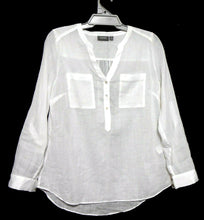 Load image into Gallery viewer, Sussan white shirt with pockets & adj. sleeves, sz. 12 - 14 NWOT