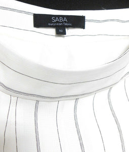 Saba dress pants, wide flowing legs, white/black pin stripe, sz. 10, exc. cnd.
