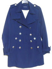 Load image into Gallery viewer, Calvin Klein dark blue trench coat, double breasted, sz. 12, exc. cnd.