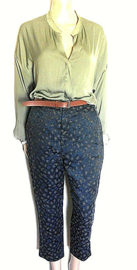 Gorman cropped pants, black with floral woven surface, sz. 8, exc. cnd.