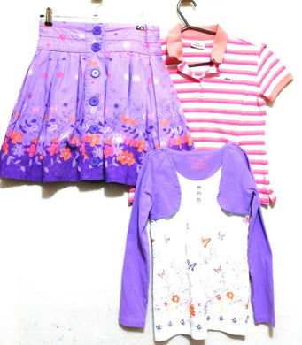 Pumpkin Patch skirt + 2 tops, sz. 9 y.o., pinks  & lavender