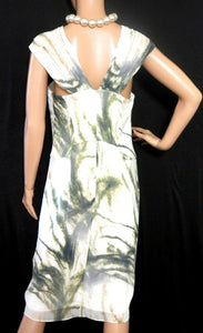 Saba silk dress with pleats, very glamorous, sz. 10, cream/olive green, NWOT