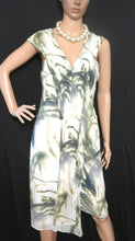 Load image into Gallery viewer, Saba silk dress with pleats, very glamorous, sz. 10, cream/olive green, NWOT